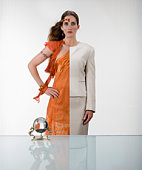 Woman wearing half business attire half gypsy (Digital Composite)
