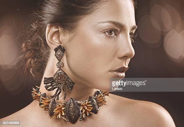 woman wearing handmade jewellery