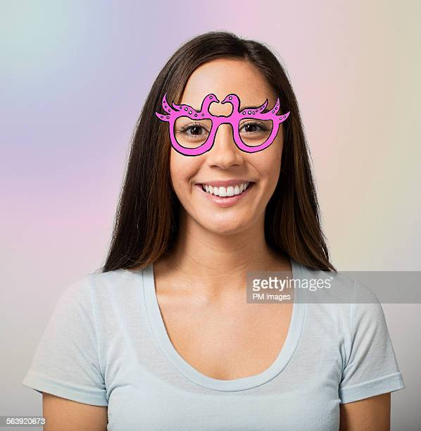 Woman wearing illustrated glasses