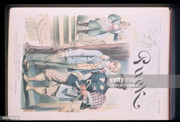 Woman wearing jacket bowtie and pantaloons with arm around shoulders of young man as his mother says 'Willy isn't that Miss Bloomers going soon It's...