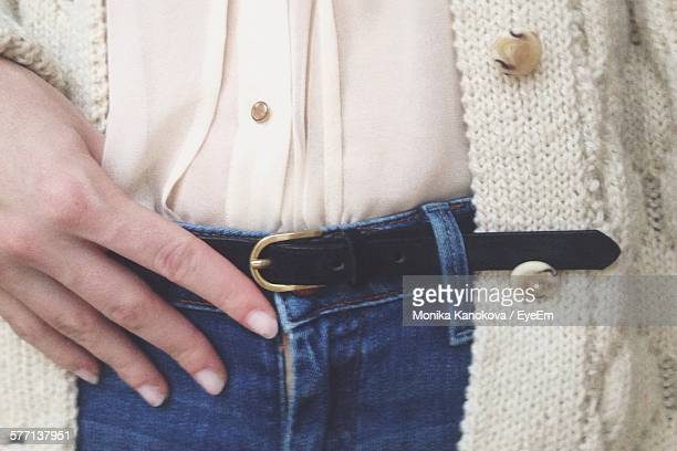 Woman Wearing Jeans And Belt
