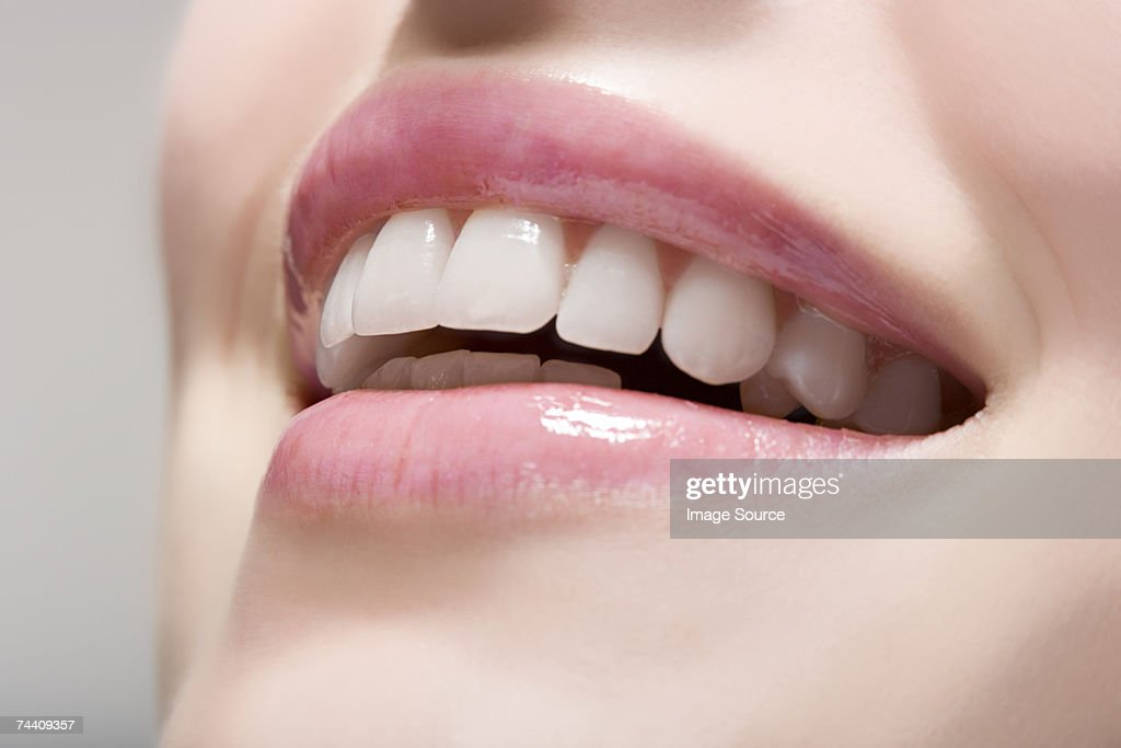 Woman wearing lip gloss
