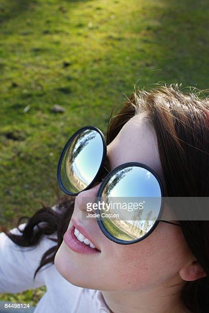 Woman Wearing Mirrored Glasses