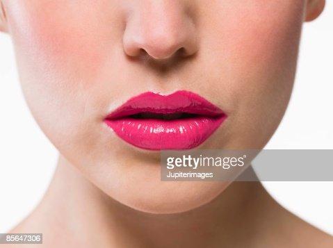 Woman wearing pink lipstick