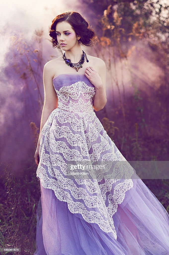 Purple dress with white lace