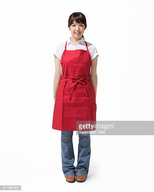 Woman Wearing Red Apron