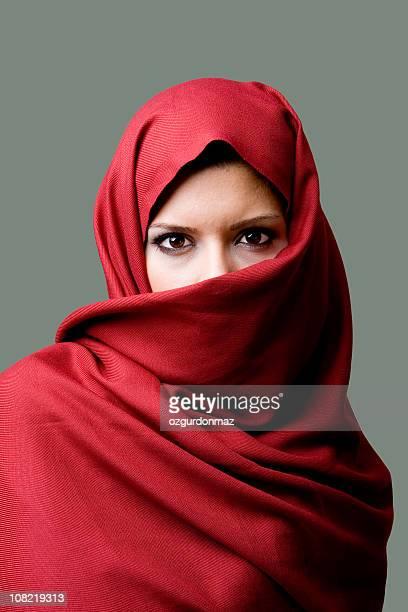 Woman Wearing Red Head Scarf