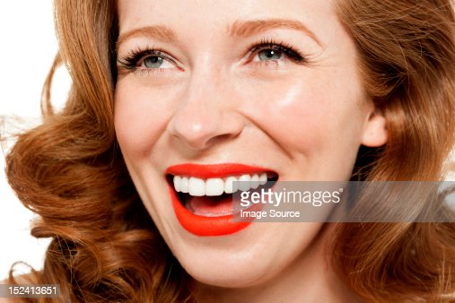 Woman Wearing Red Lipstick Stock Photo | Getty Images