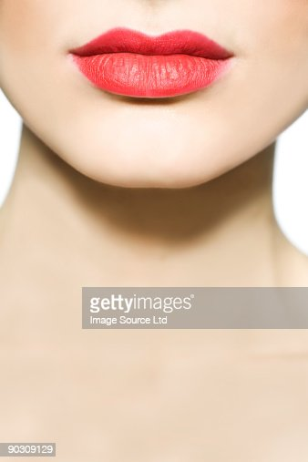 Woman wearing red lipstick : Stock Photo