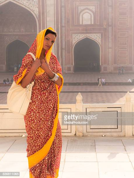 Woman wearing sari at Taj Mahal