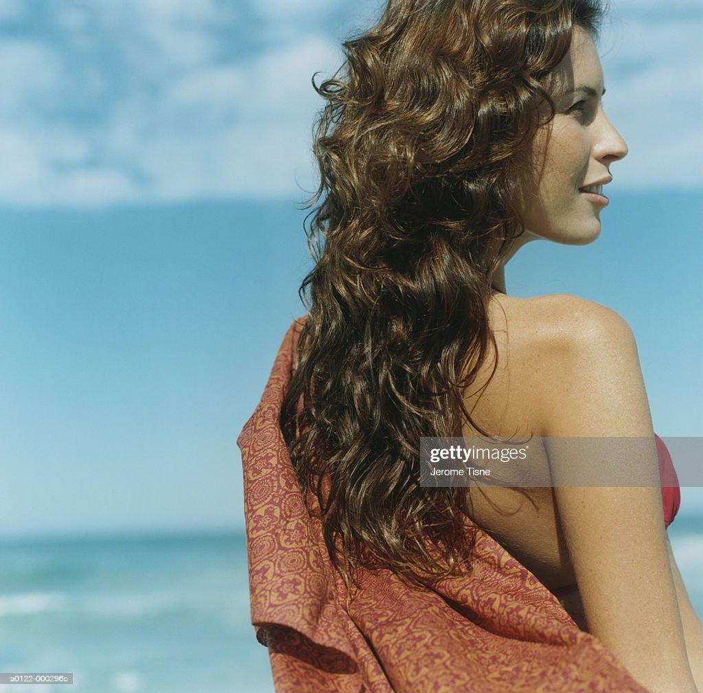 Woman Wearing Sarong : Stock Photo