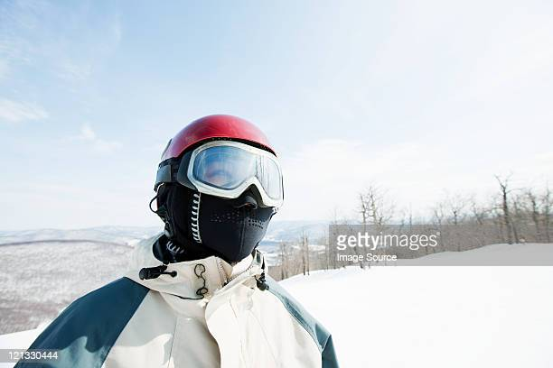 Woman wearing ski goggles, portrait