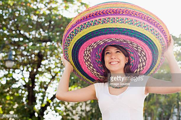 Woman wearing sombreros