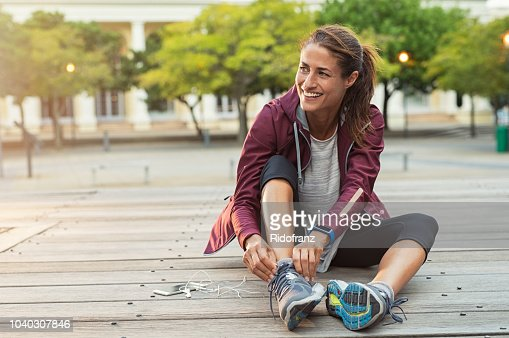 Woman wearing sport shoes : Stock Photo