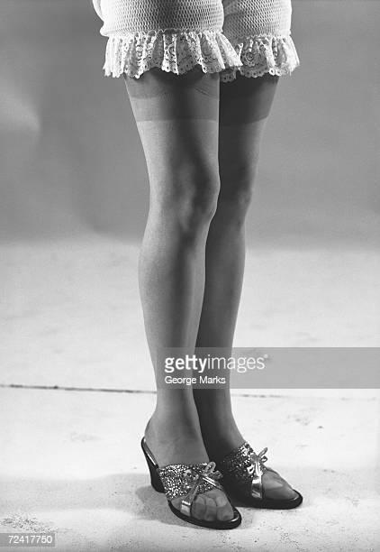 Woman wearing stockings, (B&W), (low section)