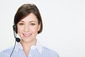 Woman wearing telephone headset