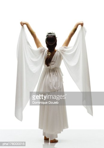 Woman wearing toga, rear view