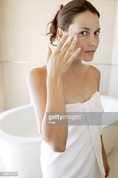 Woman Wearing Towel in Bathroom