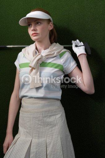 Woman Wearing Vintage Golf Clothing Stock Photo