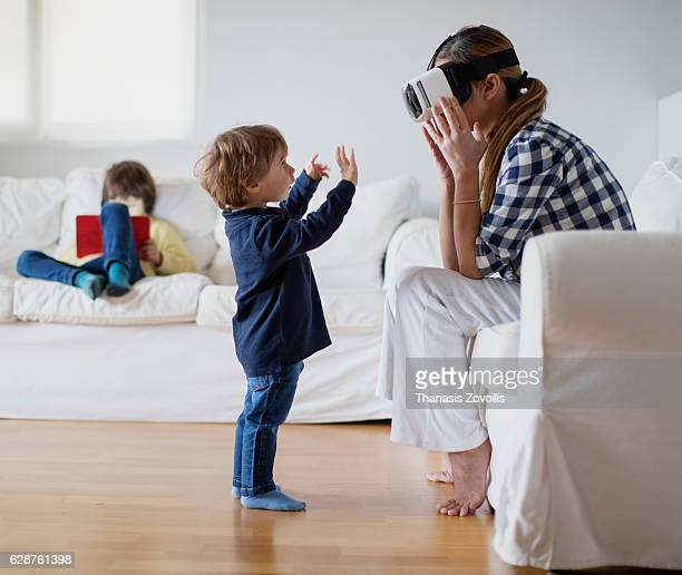 Woman wearing virtual reality glasses