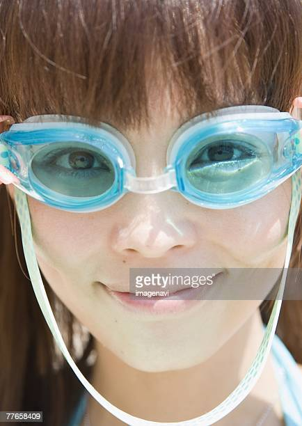 Woman wearing water goggles