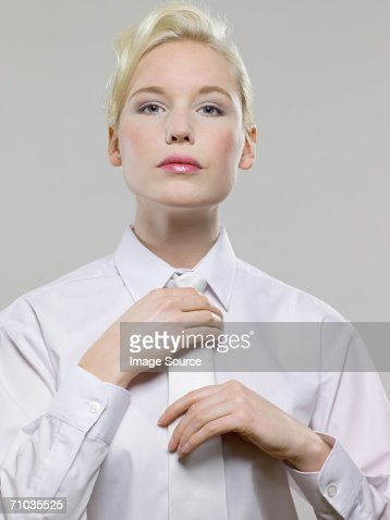 Woman Wearing White Shirt And Tie Stock Photo | Getty Images