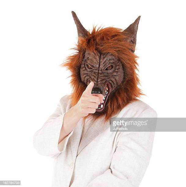 Woman wearing Wolf Mask Pointing