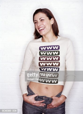 Woman wearing 'www' top, portrait : Stock-Foto