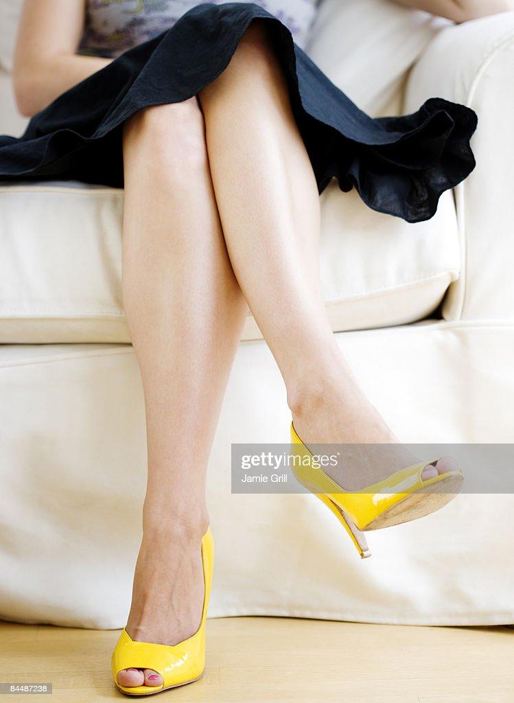 Woman Wearing Yellow High Heels : Stock Photo