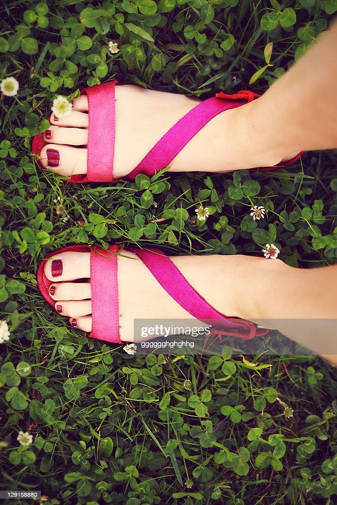 Woman wearing zara sandals