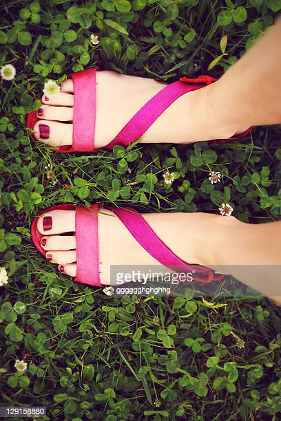 Woman wearing zara sandals