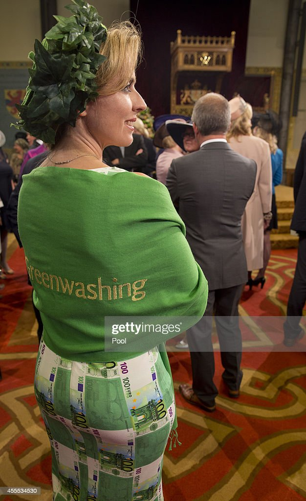 A woman wears a dress with prints of 100 euros bills and a shawl reading greenwash prior to Netherlands' King Willem-Alexander officially opening the new parliamentary year with a speech outlining the government's plan and budget policies for the year ahead, on September 16, 2014 in The Hague, Netherlands. The Dutch King officialy opened the parliamentary year by reading a speech outlining the government plans for the year ahead.