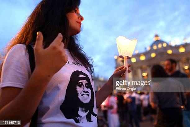 A woman wears a Emanuela tshirt as people gather in St Peter's Square to mark the 30th anniversary of the disappearance of Emanuela Orlandi on June...