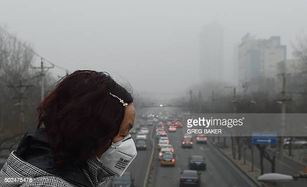 A woman wears a face mask on a heavily polluted day in Beijing on December 26 2015 Thick smog continued a day after Beijing residents woke up to a...