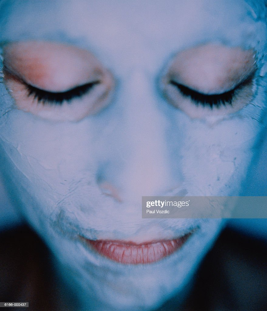 Woman Wears Face Mask : Stock Photo