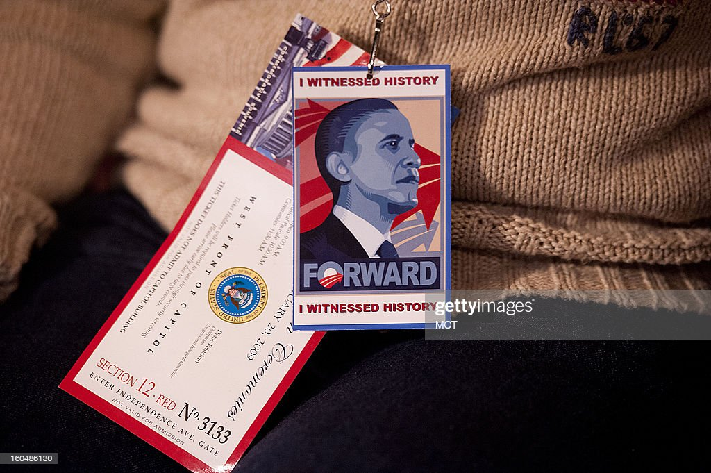 A woman wears her Inauguration ticket while attending the Lone Star Project Inauguration Celebration on Sunday, January 20, 2013 at Hill Country Barbecue in Washington, D.C.