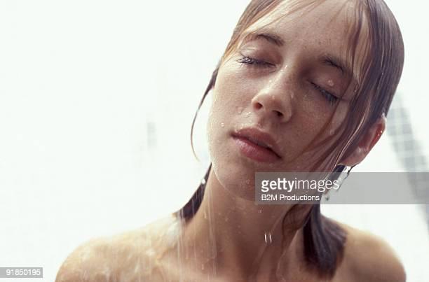 Woman wet in shower