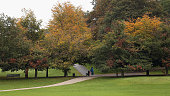 A woman wheels a pushchair past deciduous trees displaying autumnal colours Greenwich Park on October 18 2013 in London England