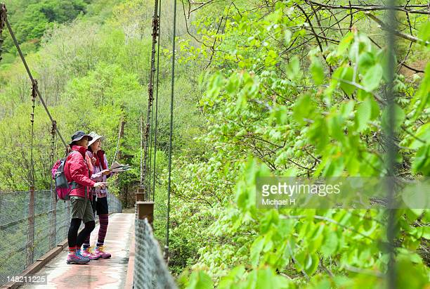 Woman who found something on the suspension bridge