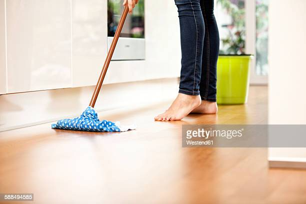 Woman wiping the floor