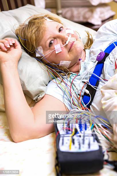 Woman wired for sleep study