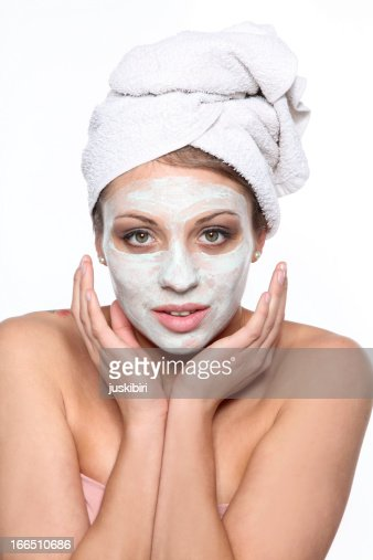 woman with a beauty mask : Stock Photo