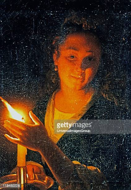 Woman with a Candle' oil on canvasGotfried Schalcken Dutch Baroque painter Young woman shelters the guttering flame with her hand