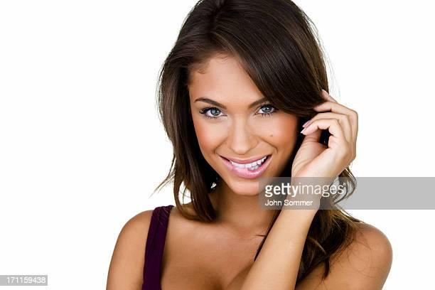 Mujer con una expresión flirty