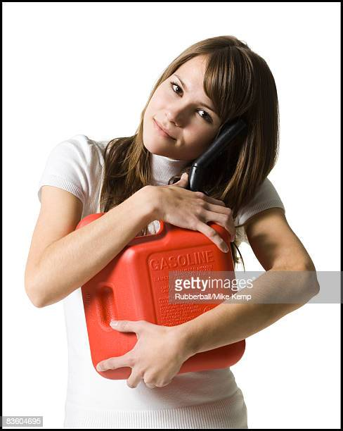 woman with a gas can