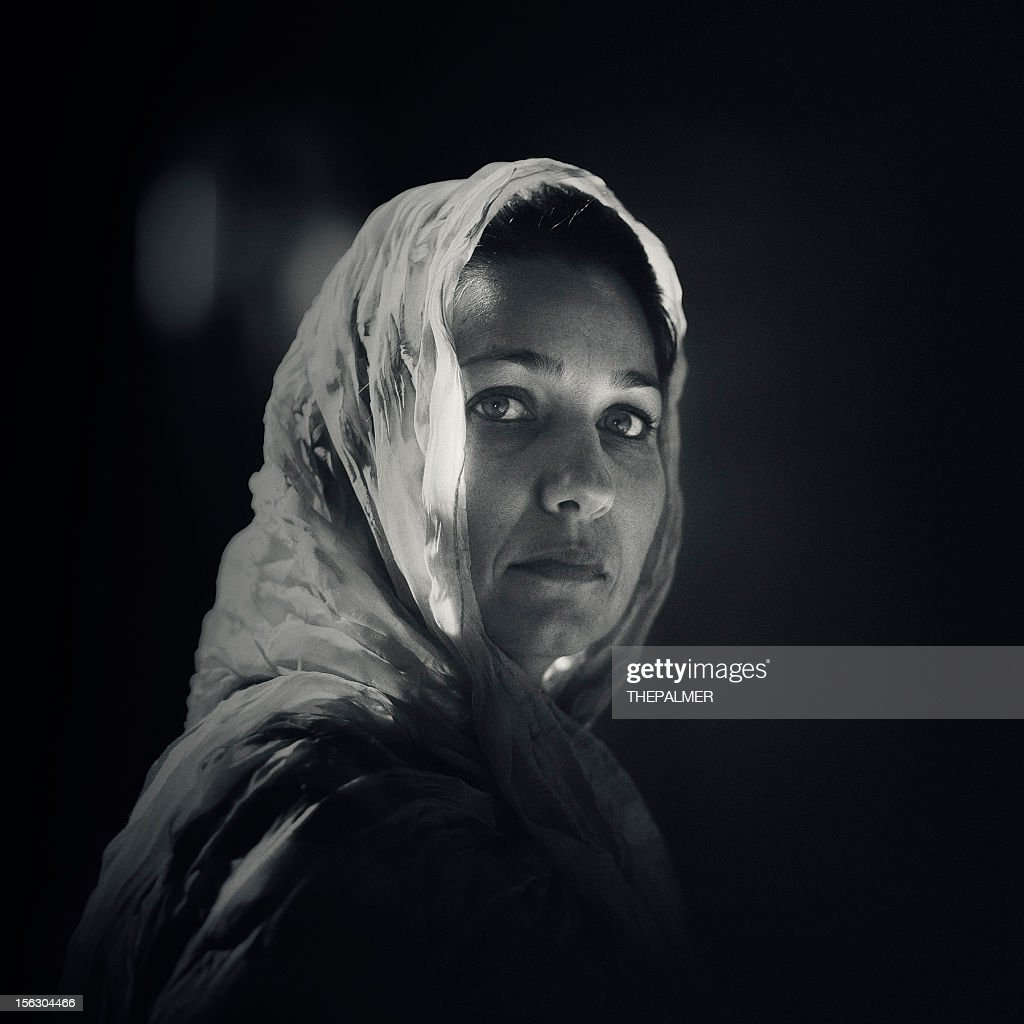 woman with a head scarf : Stock Photo