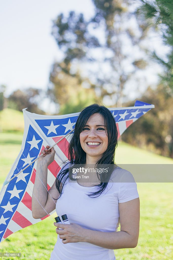 woman with a kite : Stock Photo