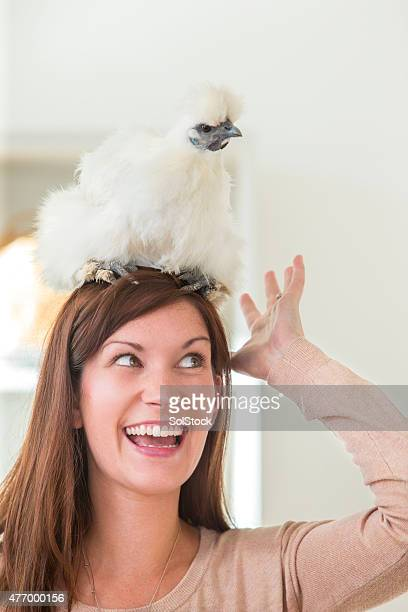 Woman With A Pet Chicken