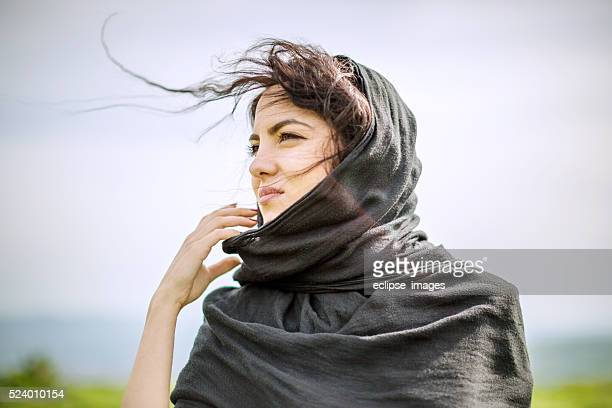 woman with a scarf
