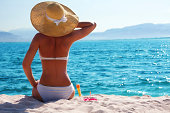 woman in white bikini resting on the beach in straw hat